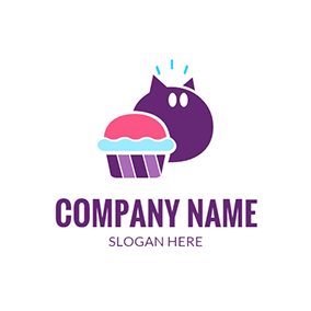 Green and Red Cupcake logo design