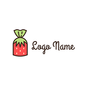 Green and Red Strawberry Candy logo design