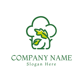 Green and White Chef Cap logo design