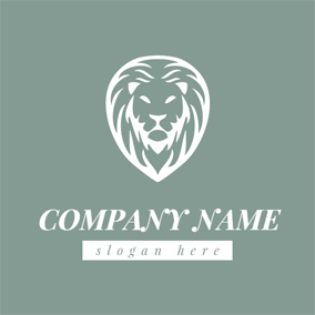 Green and White Lion Face logo design