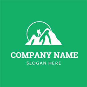 Green and White Mountain and Man logo design