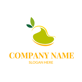 Green and Yellow Mango logo design