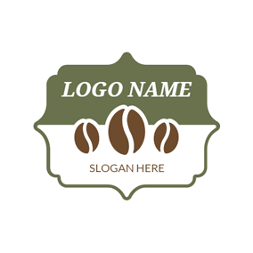 Green Badge and Brown Coffee Bean logo design