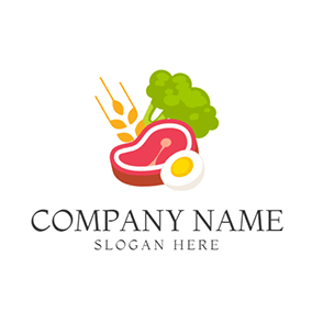 Green Broccoli and Red Beef logo design