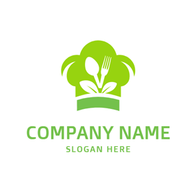 Green Chef Cap and White Tableware logo design