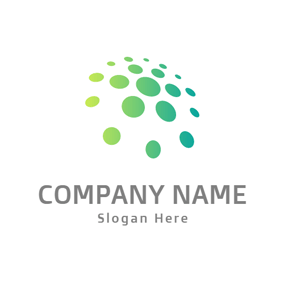 Green Circle and Flower logo design