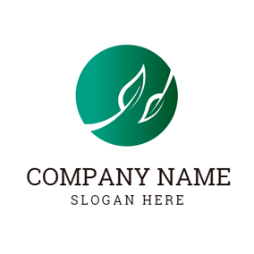 Green Circle and White Leaf logo design