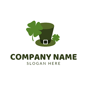 Green Clover and Leprechaun Hat logo design