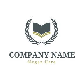 Green Leaf and Opened Book logo design