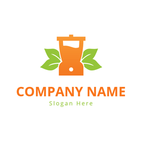 Green Leaf and Orange Blender logo design