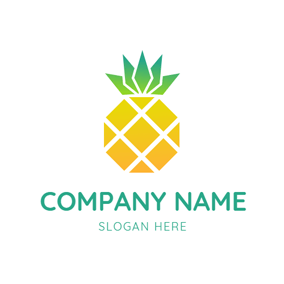 Green Leaves and Abstract Pineapple logo design