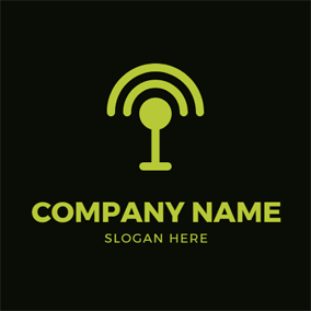 Green Microphone and Podcast logo design