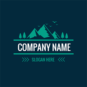 Green Mountain and Tree logo design
