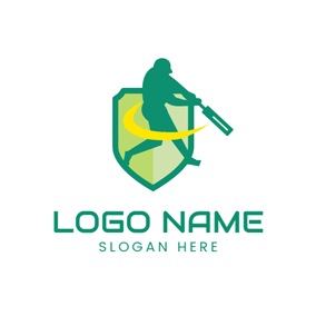 Green Shield and Cricket Player logo design