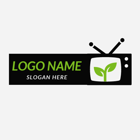 Green Sprout and Black Tv logo design