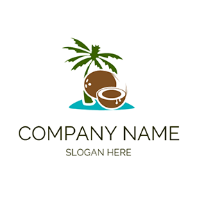 Green Tree and Brown Coconut logo design