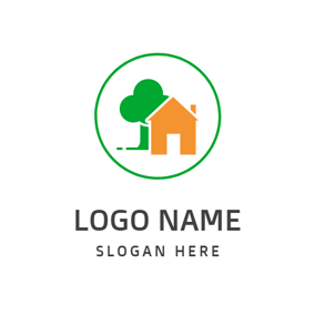 Green Tree and Yellow House logo design