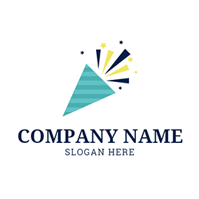 Green Triangle and Coloured Ribbon logo design