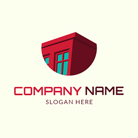 Green Window and Red Home logo design