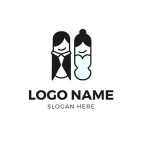 Groom and Bride Portrait logo design