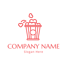 Heart Shaped Popcorn Outline logo design