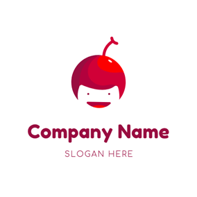Human Face and Cherry logo design