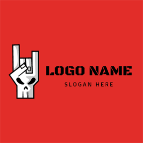 Human Skeleton and Rock Gesture logo design