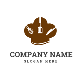 Kitchen Ware and Brown Chef Hat logo design