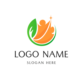 Leaf and Abstract Person logo design