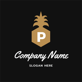 Letter P and Pineapple Outline logo design