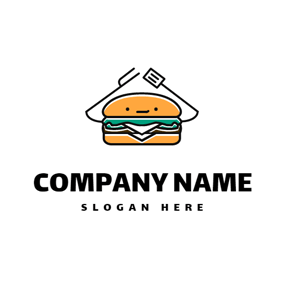 Likable Orange Burger logo design