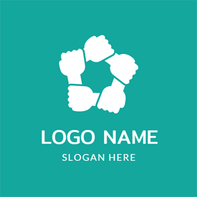 Linked Hand and White Hexagon logo design