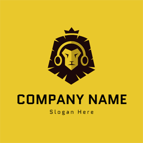 Lion Head and Headphone logo design