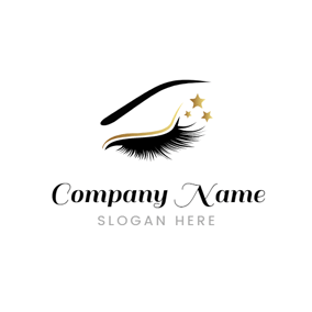 Long Eyelash and Beautiful Star Decoration logo design