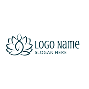 Lotus Flower Yoga Symbol logo design