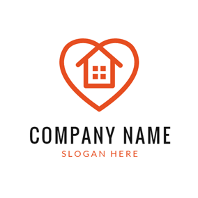 Lovely Red Heart House logo design
