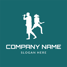 Man Singer and Woman Guitarist logo design