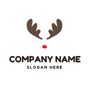 Maroon Elk Antlers and Red Nose logo design