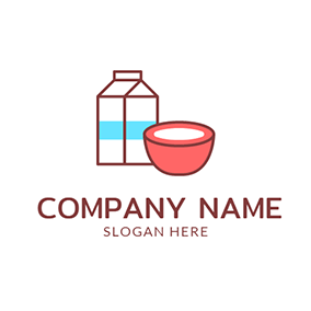 Milk Box and Red Bowl logo design