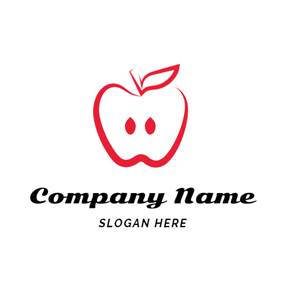 Minimalist Red and White Apple logo design