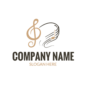 Music Score and Note Icon logo design