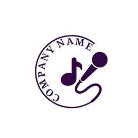 Note and Line Microphone Icon logo design