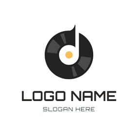 Note Symbol and Black Vinyl logo design