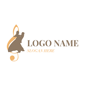 Opera Singer and Note Icon logo design