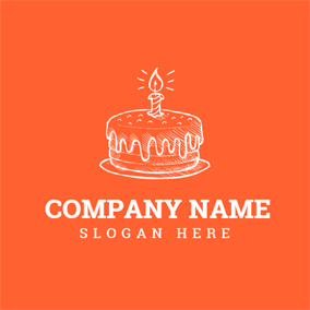 Orange Candle and Birthday Cake logo design