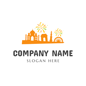 Orange Castle and Polychrome Firework logo design