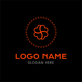Orange Circle and Twined Heart logo design