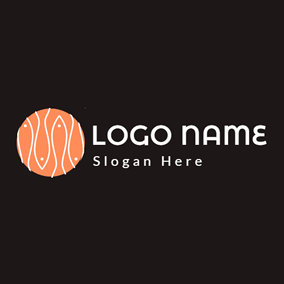 Orange Circle and White Fish logo design