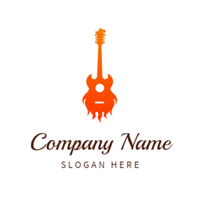 Orange Fire and Guitar logo design