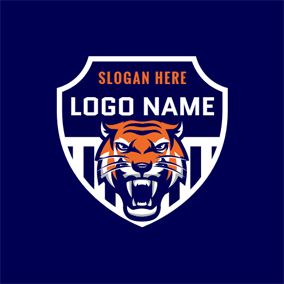 Orange Roaring Tiger logo design